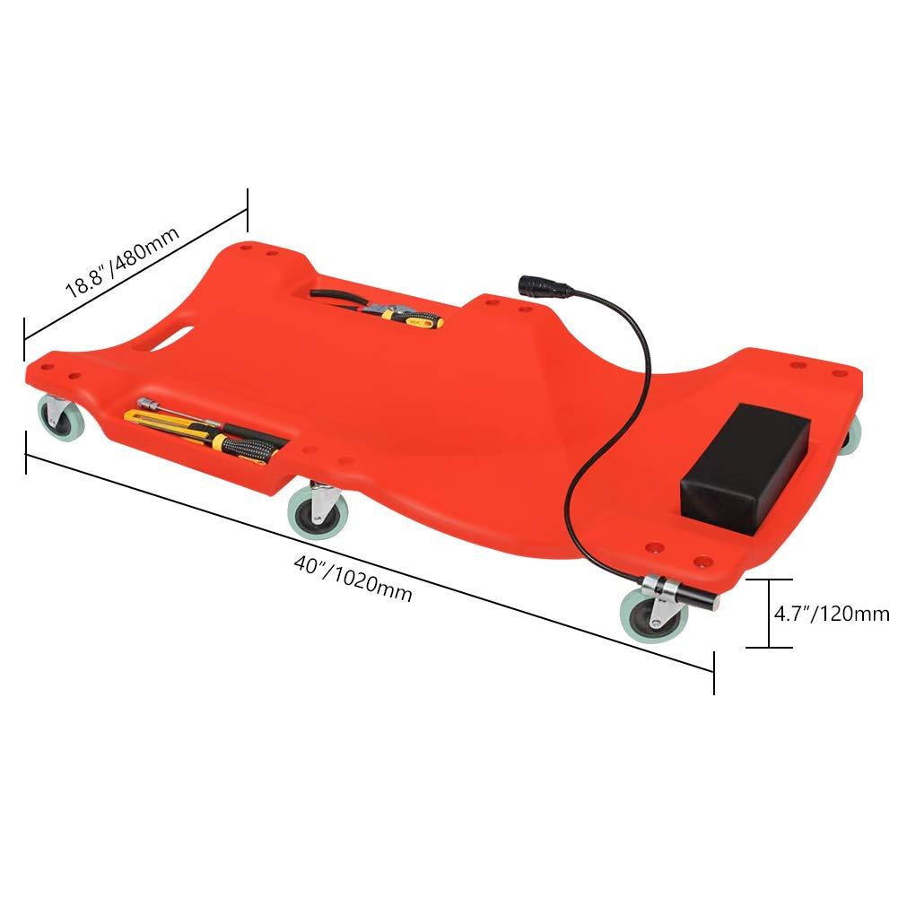 GOGOLO Mechanic Plastic 40'' Car Creeper Board with Led Light, Car Workshop Crawler Board Ergonomic Body & Padded Headrest & Dual Tool Trays, 200kg Capacity, Red by GOGOLO (Image #5)