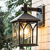 FNCUR Square Glass Lantern Wall Sconce Light Vintage Outdoor Waterproof Rustproof Wall Lamp Outside Decoration Aluminum Metal Wall Lantern for Corridor Villa Patio Garden (Color : Black Gold)