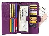 AINIMOER Women's Big RFID Blocking Leather Zip Around Wallets for Womens Clutch Organizer Checkbook Holder Large Travel Purse(Lichee Purple)