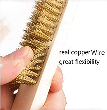 5pcs Copper Wire Metal Grill Cleaning Brush Wood Handle Barbecue BBQ ...