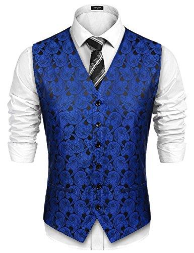 COOFANDY Men Paisley Design Dress Vest Floral Waistcoat for Suit Tuxedo Wedding,Blue,Medium ()