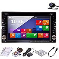 6.2-Inch Double-DIN In Dash Car Stereo Head Deck 3D UI Design Touchscreen LCD Monitor with DVD/CD/MP3/MP4/USB/SD/AM/FM/Handsfree Bluetooth GPS Navigation+Free Official GPS Map+Free Backup Rear Camera!