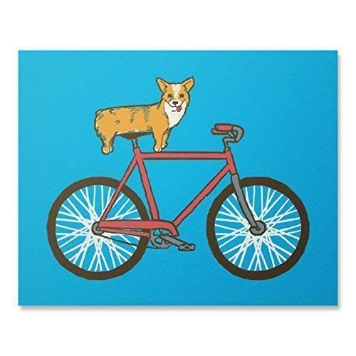 Cute Corgi Bike Art Print Funny Dog Lover Bicycle Wall Poster Animal Riding Red Fixie Home Decor Illustration 8 x 10 Inches