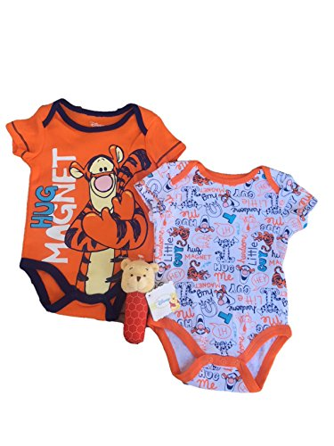 (Disney Baby Infant Tigger 2-Pack Creeper Bodysuit and Winnie The Pooh Stick Rattle Set (6-9 Months))