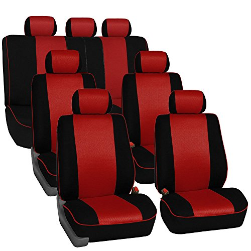 FH GROUP FH-FB063217 Three Row Cloth Car Seat Covers with Piping Airbag & Split Ready Red / Black- Fit Most Car, Truck, Suv, or Van ()