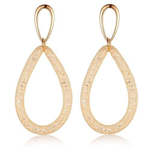 (Mytys Gold Plated Fishnet CZ Big Oval Round Dangle Teardrop Earrings Drop Dangle Earrings for Women(Gold))