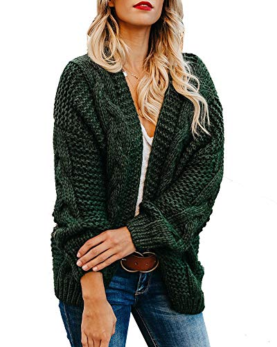 Plus Size Womens Cardigan Sweaters Cable Knit Chunky Oversized Long Sleeve Fall Winter Cardigans Dark Green