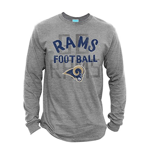 Junk Food NFL St. Louis Rams Men's Long Sleeve Game Time Tee, Medium, Athletic Heather