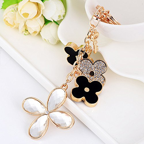 Jzcky Shzrp Multiple Four-leaf Clover Crystal Rhinestone Keychain Key Chain Sparkling Key Ring Charm Purse Pendant Handbag Bag Decoration Holiday Gift(White) (Clover Key Charm)