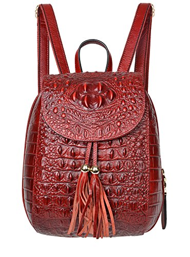 PIJUSHI Leather Backpack For Women Crocodile Bags Fashion Casual Backpack Purses (B66810 dark red)