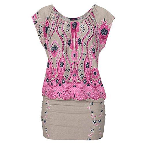 Zwei Sleeve Rock Casual Langes Hemd Neue Print O-neck National Womens Wind Pink Arbeiten Tops Tragen Short Kurzen Retro Uface Sie Oder Minikleid Strand Drucken 2018
