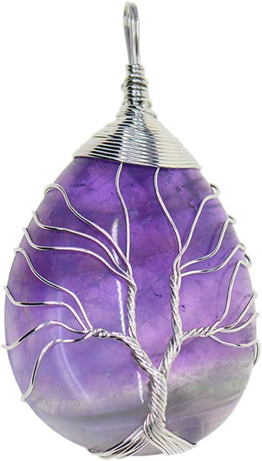 Árbol De La Vida Colgante De Piedras Preciosas/Encantos/Joyas Halladas Envueltas con Alambre De Latón - Plata Amatista