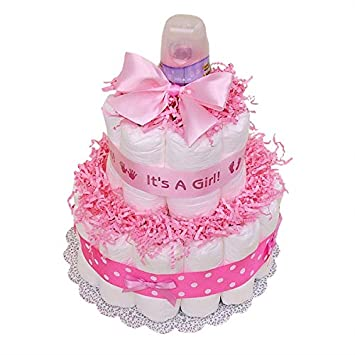 Amazoncom Classic Pink Baby Shower Diaper Cake 2 Tier Pink