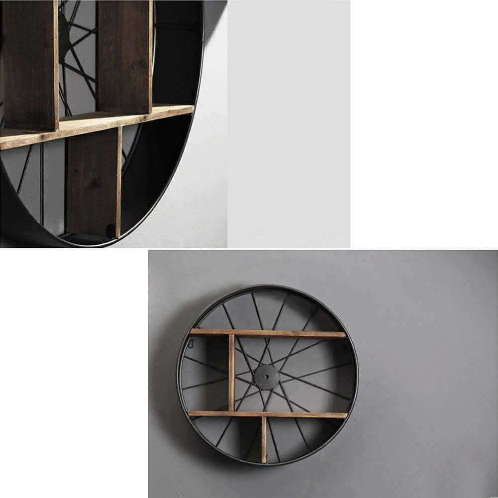 YTJHJ Mensola Rotonda mensola in Metallo a Parete in Legno con mensola a Parete Mobile in Stile Industriale stoccaggio a scaffale JYT Dimensioni : 60X60X18cm Dimensioni: 60X60X18cm