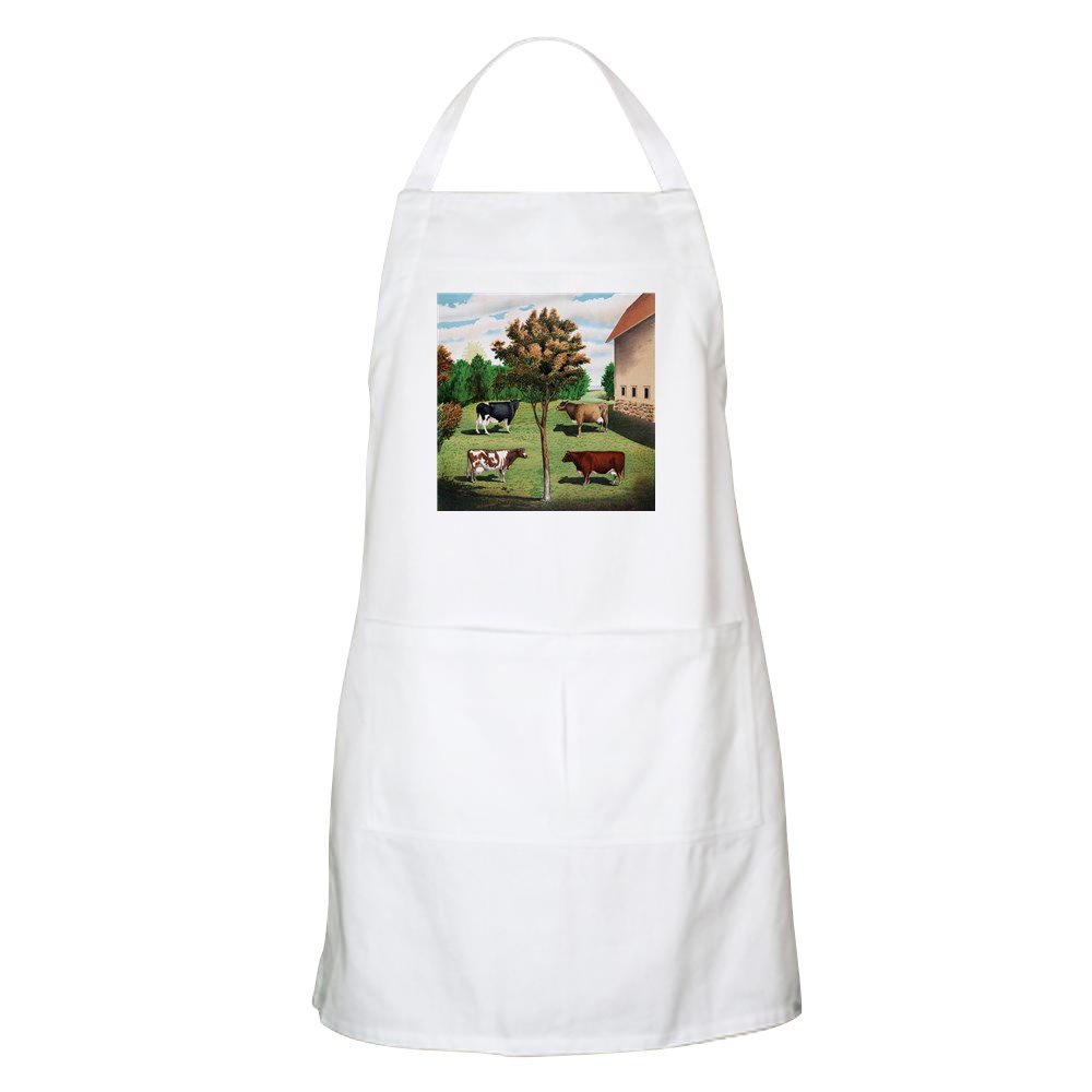 CafePress – Vintage Cowアートエプロン – キッチンエプロンポケット付き、グリルエプロン、Bakingエプロン 064499550933332  ホワイト B073XBPMS1