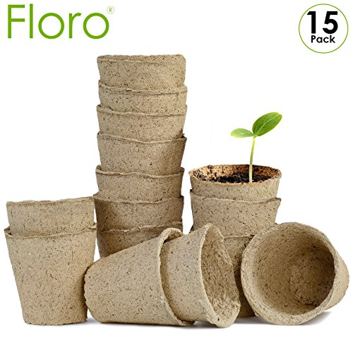 "Hibiscus Flower Bowl - Seed Starter Peat Pots Kit - 15 Pack of 4"" Round, Biodegradable Seedling Planters from Floro - Reduces Plant Transplant Shock - Encourages Germination in Flowers, Fruits, Vegetables, Herbs and More"