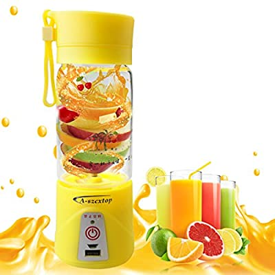 A-SZCXTOP Portable Electric Fruit Juicer Cup 380ml Rechargeable Blender Personal Bottle Can Be Used as Mobile Phone Charger