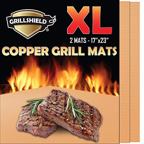 GrillShield Extra Large Copper Grill and Bake Mats Set of 2 - Best Gift - 17 X 23 inches Non Stick Mats for BBQ Grilling & Baking, Reusable and Easy - 23 Inch Grill