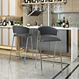 Emily Modern Grey Leather 28.25 Inch Barstool (Set of 2) For Sale
