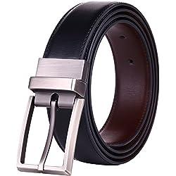 "Beltox Fine Men's Dress Belt Leather Reversible 1.25"" Wide Rotated Buckle Gift Box (Black/Brown,38-40) …"
