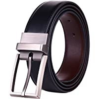 "Beltox Fine Men's Dress Belt Leather Reversible 1.25"" Wide Rotated Buckle Gift Box …"