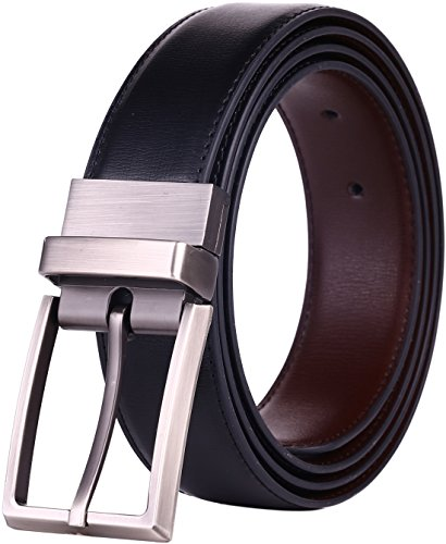 "Beltox Fine Men's Dress Belt Leather Reversible 1.25"" Wide Rotated Buckle Gift Box … (Black/Brown,32-34) …"