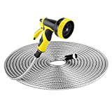 Strong 304 Stainless Steel Metal Garden Hose with 9 Fonctions Sprayer Nozzle 50ft by Beaulife Flexible, Portable & Lightweight - Kink, Tangle & Puncture Resistant