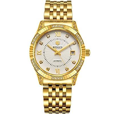 BINLUN 18K Gold Plated Watches for Men Waterproof Luxury Dress Wrist Watch with Date from BINLUN