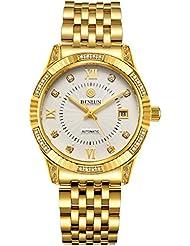 BINLUN 18K Gold Plated Watches for Men Waterproof Luxury Dress Wrist Watch with Date