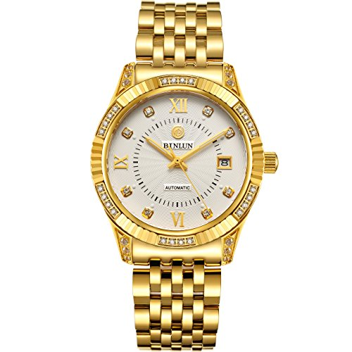 BINLUN 18K Gold Plated Watches for Men Waterproof Luxury Dress Wrist Watch with Date