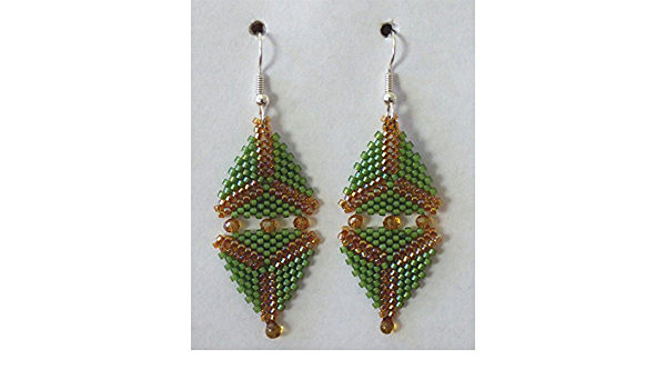 gift for her gift for Valentine/'s Day green beaded jewelry beadwork statement geometric earrings Large green diamond earrings with beads
