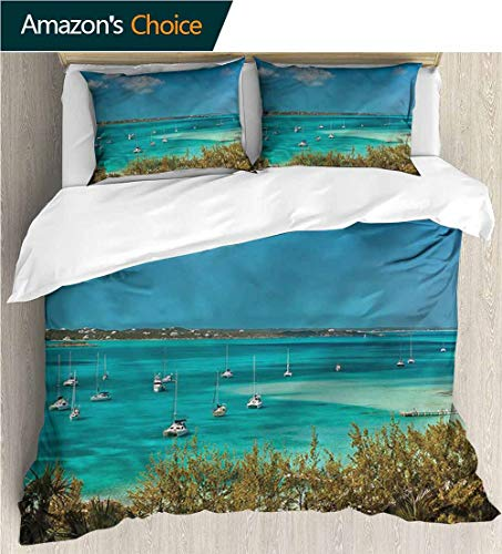 Cotton Bedding Sets,Box Stitched,Soft,Breathable,Hypoallergenic,Fade Resistant Print Queen 1 Duvet Cover 2 Pillowcases Wrinkle Fade Resistant-Sailboat Anchored Boats In Sea (79