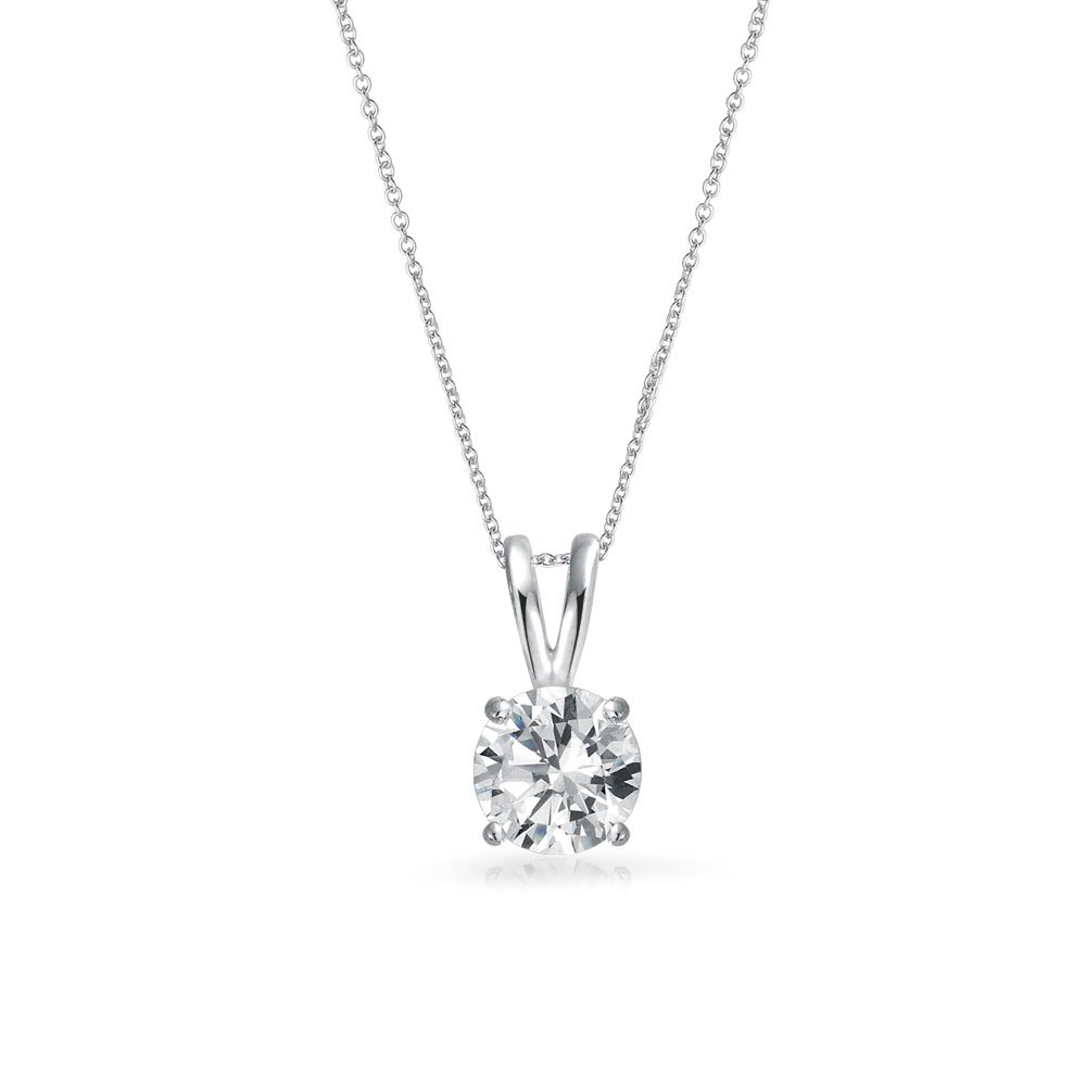 6f05a627483d Amazon.com  Classic 1 Ctw Round Solitaire Pendant Cubic Zirconia CZ For  Women Bridal Necklace Prong Set Sterling Silver with Chain  Jewelry