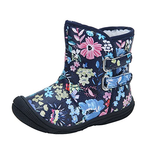 Baby Girls Boots (Kuner Baby Girls Pu Leather Faux Fleece Rubber Soles Outdoor Warm Snow Boots (13.5cm(12-18months), Black Flowers))