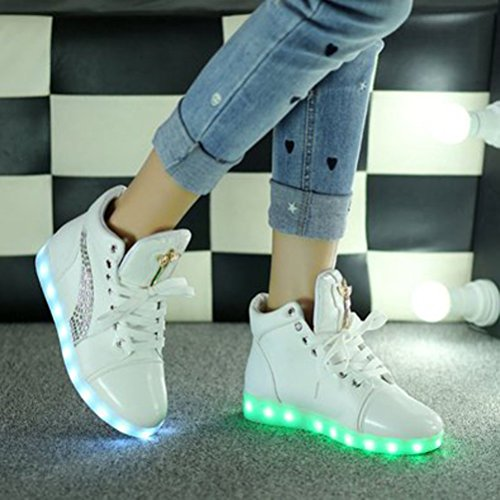 (Present:small towel)JUNGLEST® 7 Colors Led Trainers High Top Light Up S White glaWfjd