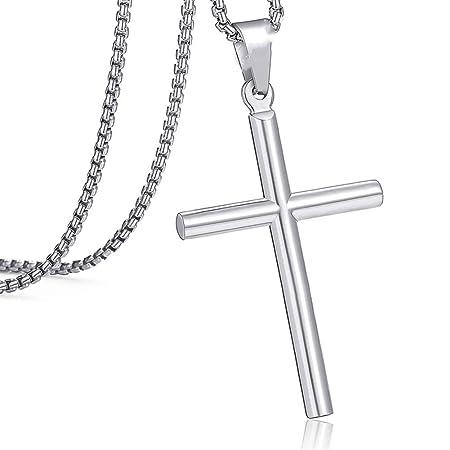 Retro De Plata De Acero Inoxidable Cruz Colgante Cadena Collar Joyería Regalo para hombres y mujeres