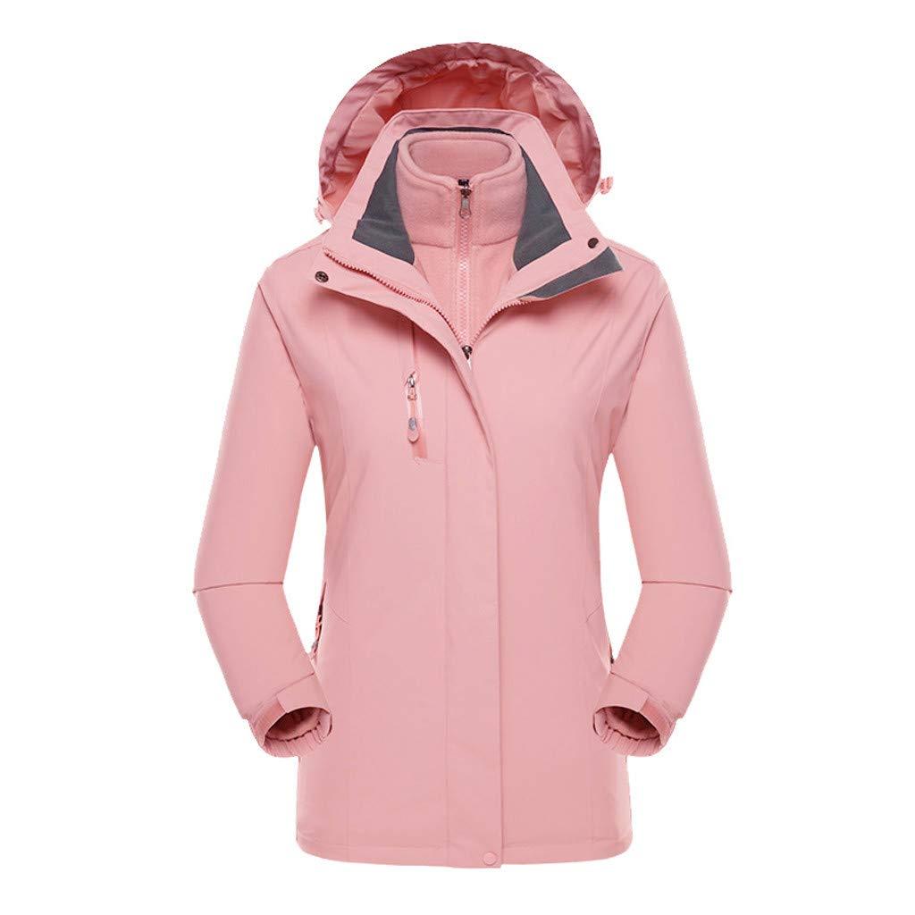 Fitfulvan Women's Plus Size Jacket Waterproof Hoodie Hat Detachable Breathable Sport Outdoor Coat Pink