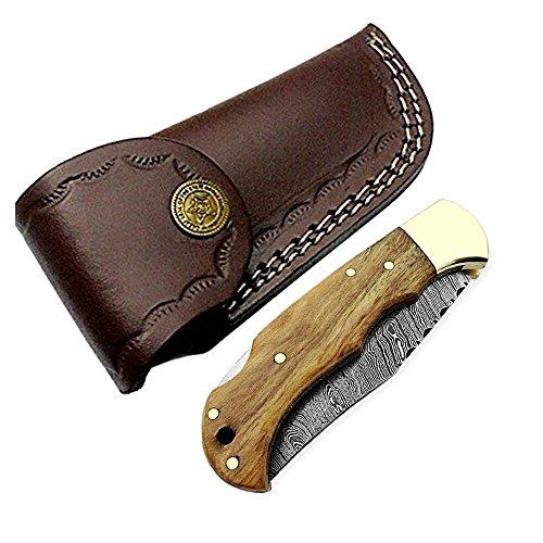 Pocket Knife Olive Wood 6.5'' Damascus Steel Knife Brass Bloster Back Lock Folding Knife + Sharpening Rod Pocket Knives 100% Prime Quality+ Buffalo Horn Small Pocket Knife + Damascus Knife by Best.Buy.Damascus1 (Image #5)