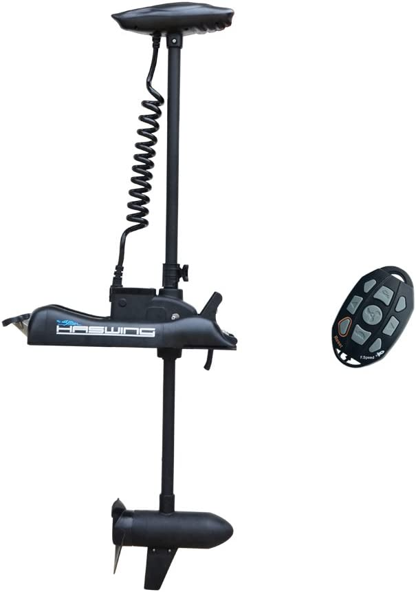 """AQUOS Haswing 12V 55LBS 48"""" Shaft Bow Mount Electric Trolling Motor with Wireless Remote Control, Variable Speed, for Bass Fishing Boat Freshwater and Saltwater Use (Black, 48)"""