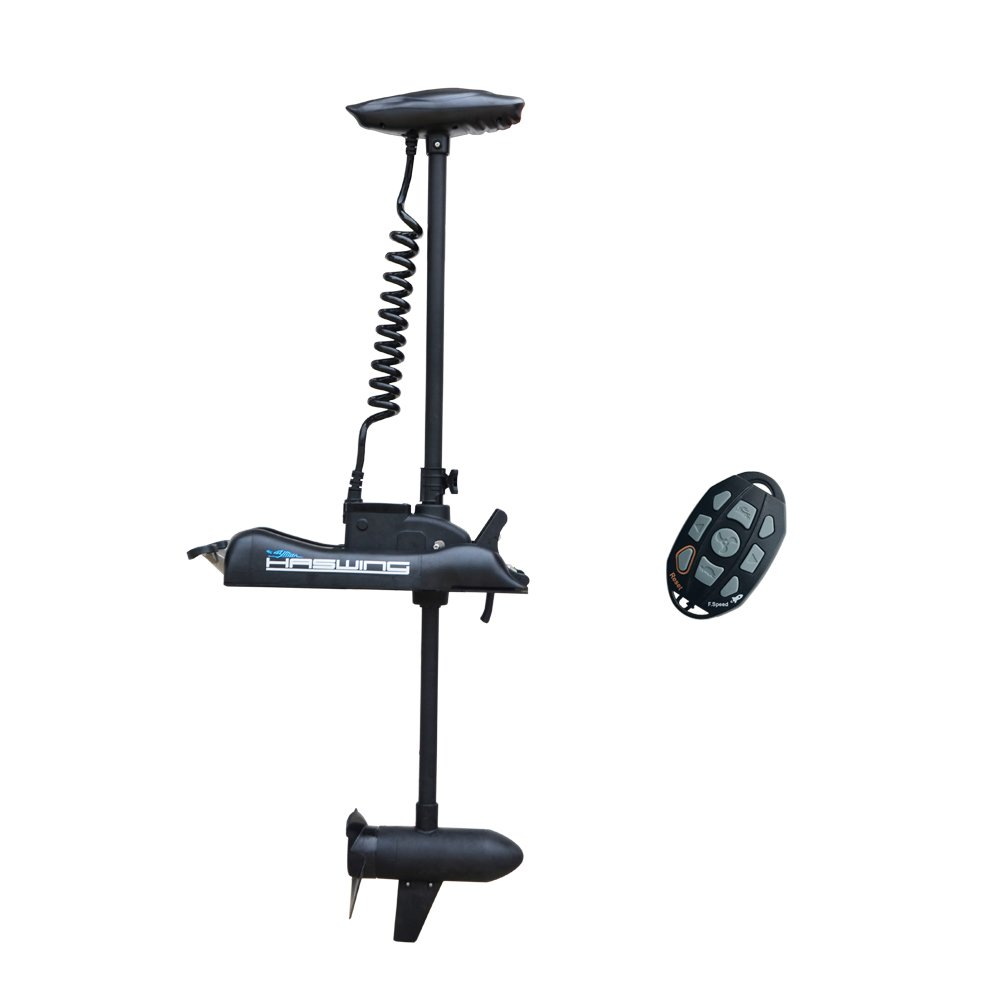 Aquos Black Haswing 12V 55LBS 48'' Shaft Bow Mount Electric Trolling Motor Portable, Variable Speed for Bass Fishing Boats Freshwater and Saltwater Use, Energy Saving, Precise Control, Quiet Operation by Aquos