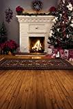 COMOPHOTO Chirstmas Theme Photography Backgrounds Children Photo Backgroung Fireplace Wood floor Backdrop for Photo Studio Prop 5x7FT