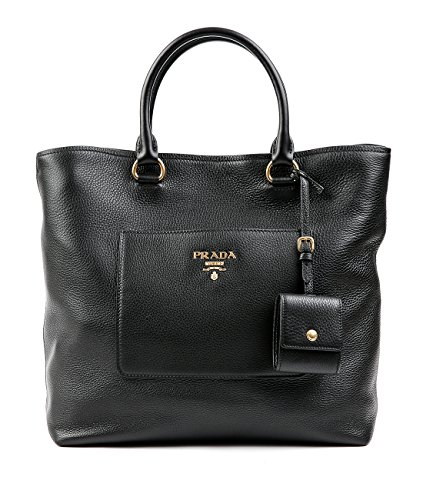 Wiberlux-Prada-Womens-Pebbled-Real-Leather-Gold-Logo-Detail-Tote-Bag