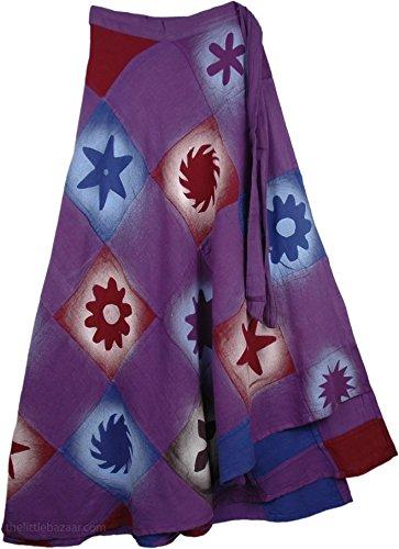 "TLB - Purple Magic Wrap Around Skirt - Free Size L: 38"""