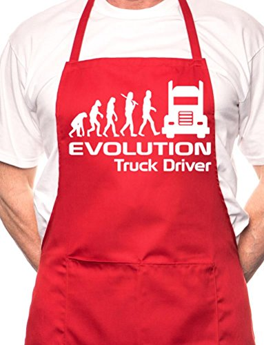 print4u Evolution Of Truck Driver BBQ Cooking Funny Novelty Apron - Cooking Driver Truck