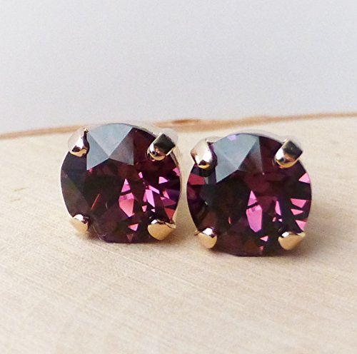 Swarovski Amethyst Purple Rose Gold Crystal Stud Earrings, 8mm Round Rhinestone Posts