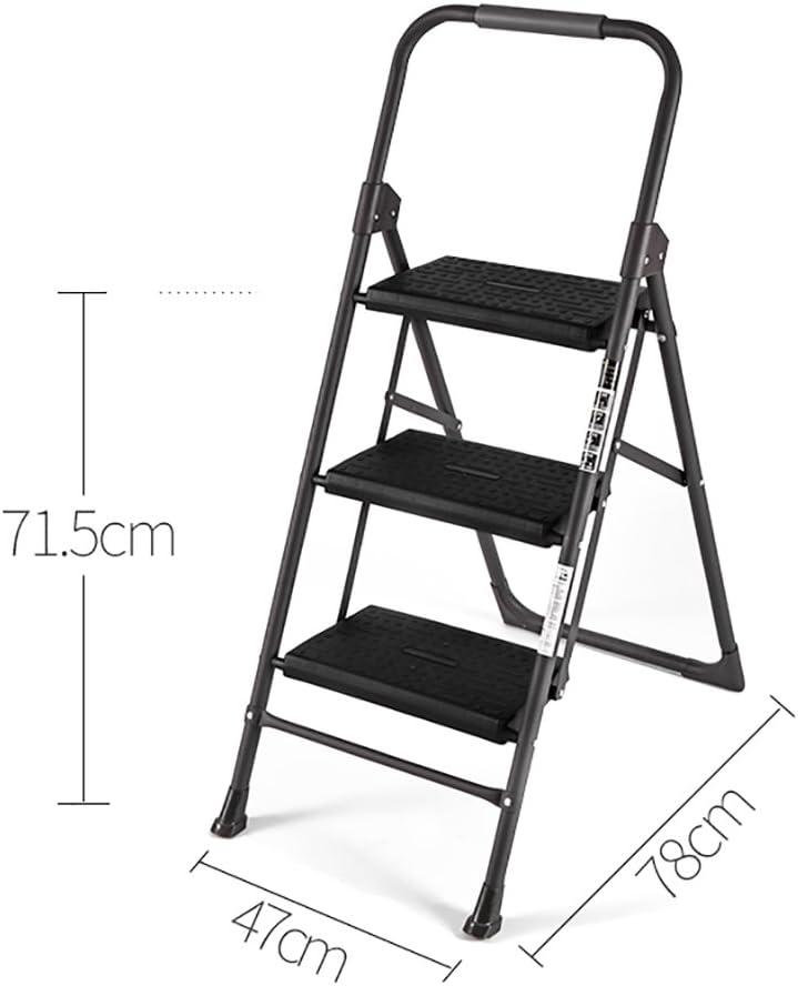 XuQinQin Escalera de Acero Inoxidable para Taburete de Escalera para Adultos Sillas de Cocina abatible para escabel pequeña/Escalera de Tijera/Plataforma de Almacenamiento/Rack de Flores escaler