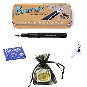 Kaweco AC Sport fountain pen black carbon Pen Nib: EF (extra fine) Set