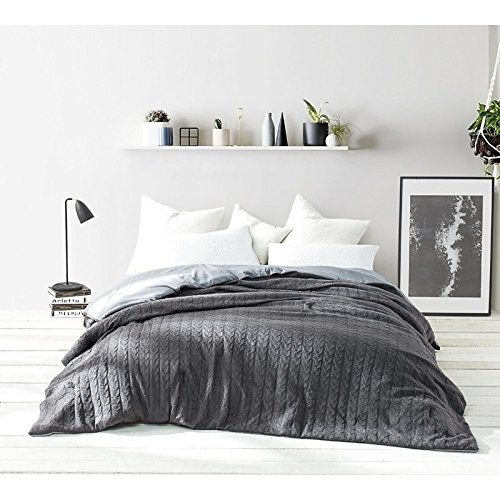 Textured Knit Twin Set (1 Piece Twin XL Dark Grey Comforter, Down Alternative Bedding Bedroom Comforter, Cable Knit, Textured Pattern, Contemporary, Classic & Casual Style, Imported Polyester Material, Machine Washable)