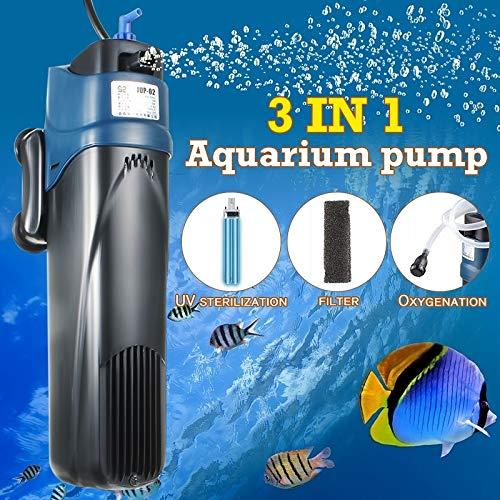 MOKACOCA 1PCS, 3 In 15W UV Sterilizer Submersible Oxygen Pump Filter Water Cycle Aquarium Fish Tank 15w Uv Quartz Sleeve