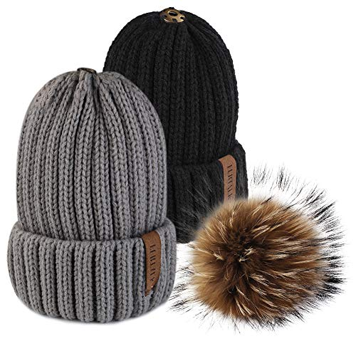 FURTALK Womens Girls Winter Fur Hat Real Large Raccoon Fur Pom Pom Beanie Winter Hats (2pcs Black Grey)